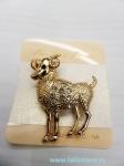 Брошь коза,овца золотого   цвета