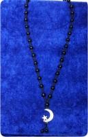 Четки-подвеска на шею из черного агата с полумесяцем