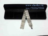 перекидные четки металлические серебряные в бархатной коробке