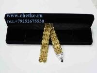 Перекидные четки металлические золотого цвета в футляре